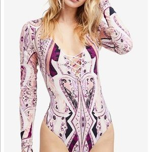 Free People Pink Psychedelic Paisley Bodysuit Top